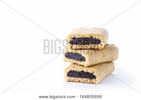 Three fig cookies with shadow isolated over a white background with clipping path and copy space inclued.