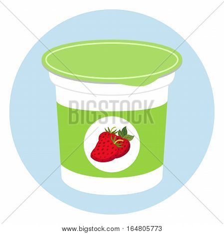 Yogurt healthy cream milk product in plastic container. Milky nutrition diet organic food with berries.