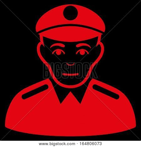 Soldier vector icon. Flat red symbol. Pictogram is isolated on a black background. Designed for web and software interfaces.