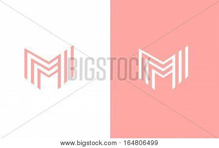 Alphabet letter M line lineart vector logo icon sign design template
