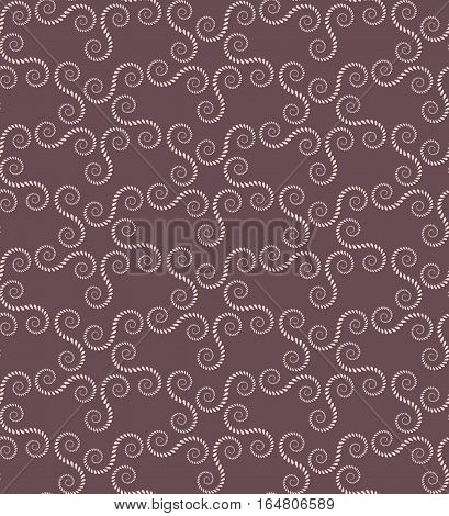 Spiral seamless lace pattern. Vintage abstract texture. Volute, twirl figures of laurel leaves. Brown, beige contrast colored background. Vector