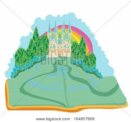 Magic world of tales fairy castle appearing from the book , vector illustration