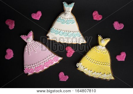 Cookies With Glaze In The Form Of Dress.