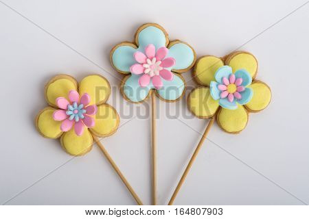 Cookies With Glaze In The Form Of Flowers.