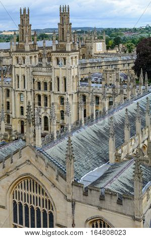 All Souls College Oxford University Oxford UK. Vertical view with All Souls College and Oxford University.