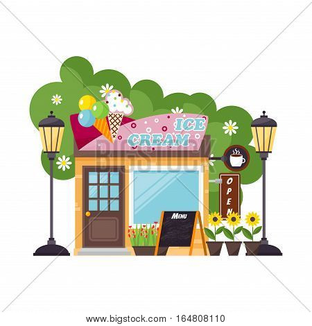 Storey building ice cream shop facade elements with urban exterior. Flat style center graphic showcase vector illustration. Front market construction terrace.