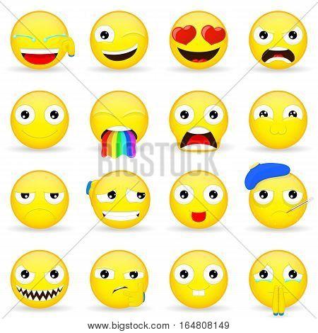 Emoji set. Emoticon set. Cartoon style. Vector illustration icon.