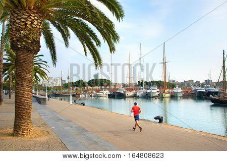 Jogging In Barcelona, Spain