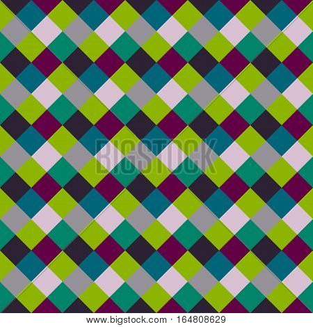 Seamless geometric checked pattern. Diagonal square, braiding, woven line background. Patchwork, rhombus, staggered texture. Green, gray, vinous colors. Winter theme. Vector