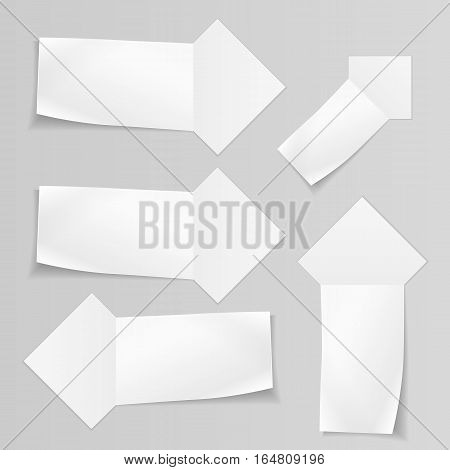 Set of banners. Paper labels for your note, text. Ribbon, arrow icons. Stationery symbol. Vector isolated