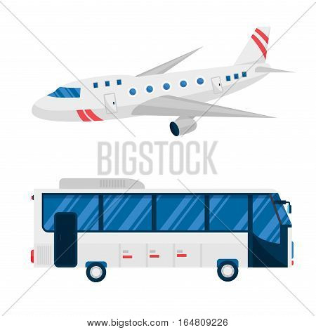 Vector airplane and bus illustration. Plane passenger white trip and aircraft transportation. Travel way to vacation sky design journey international object.