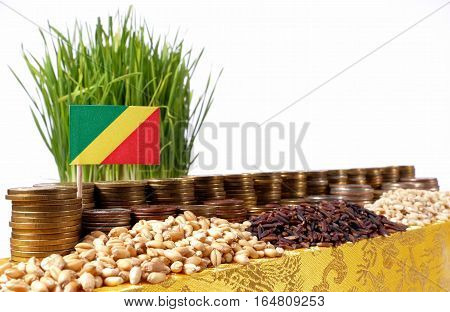 Republic Of The Congo Flag Waving With Stack Of Money Coins And Piles Of Wheat And Rice Seeds