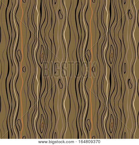 Seamless striped nature pattern. Vertical narrow wavy lines. Bark, branches of trees, tropical forest theme texture. Green, brown, orange colored background. Vector