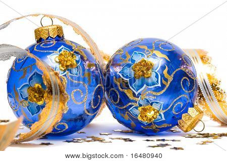 blue Christmas decoration balls with ribbon
