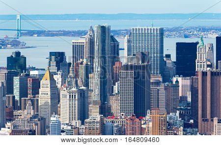 Manhattan, New York - April of 2015, USA: Aerial view of Manhattan skyline, skyscrapers up close