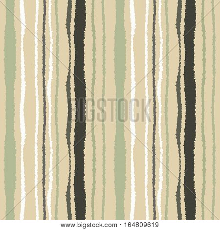 Seamless strip pattern. Vertical lines with torn paper effect. Shred edge texture. Green, beige, white soft colored background. Winter theme. Vector