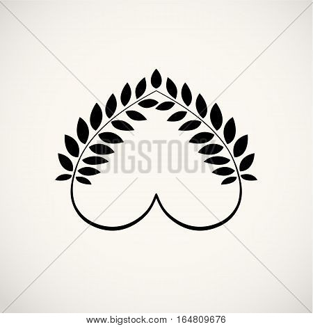 Laurel wreath, heart tattoo icon. Wheats, swirl, circular view signs. Stylized unusual ornament. Valentine day, birthday, defense, belief, glory, love symbol. Vector