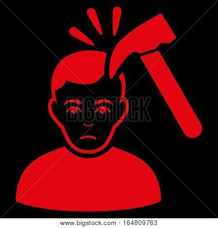 Murder With Hammer vector icon. Flat red symbol. Pictogram is isolated on a black background. Designed for web and software interfaces.