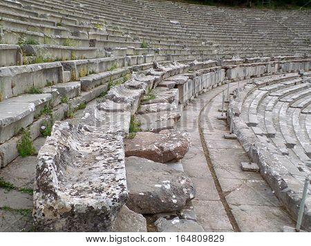 Stone Seats of the Ancient Theater of Epidaurus, Peloponnese Peninsula of Greece, UNESCO World Heritage