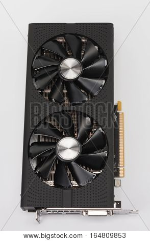 New Modern Gaming Graphics Card On White
