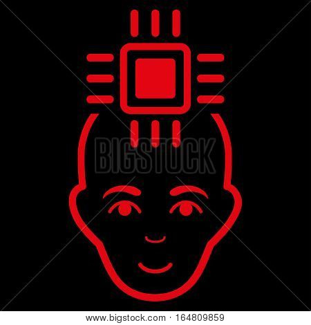 Neural Computer Interface vector icon. Flat red symbol. Pictogram is isolated on a black background. Designed for web and software interfaces.