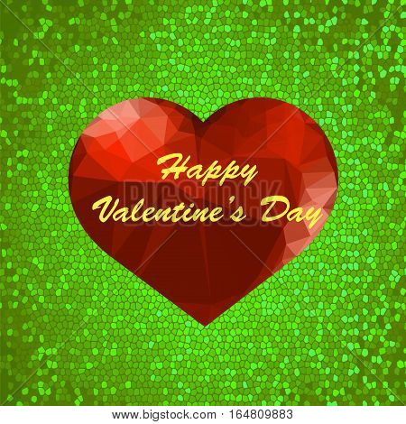Valentines Day Romantic Banner with Polygonal Heart on Green Mosaic Background.