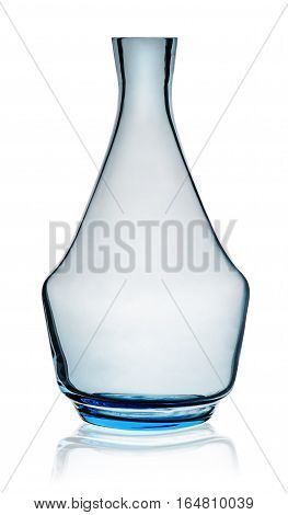 Blue carafe without stopper isolated on white background