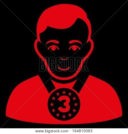 3rd Prizer Sportsman vector icon. Flat red symbol. Pictogram is isolated on a black background. Designed for web and software interfaces.