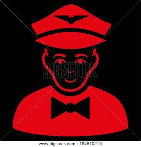 Airline Steward vector icon. Flat red symbol. Pictogram is isolated on a black background. Designed for web and software interfaces.
