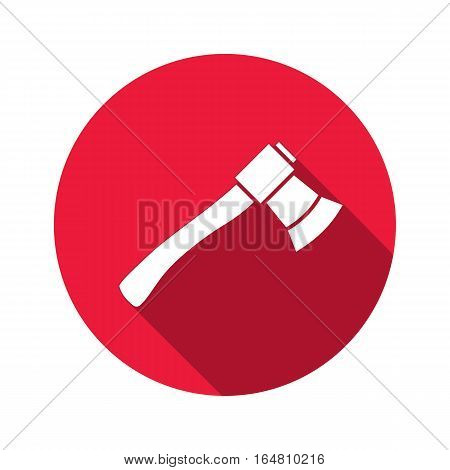 Tool icon. Axe, hache instrument. Work, job, labour, toil, repair, fix, building symbol. White sign on round red button with long shadow. Vector isolated
