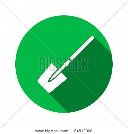 Tool icon. Spade, shovel instrument. Work, job, labour, toil, repair, unskilled, building symbol. White sign on round green button with long shadow. Vector isolated poster