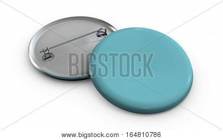 3d Illustration of Blank blue button badge stack mockup isolated white