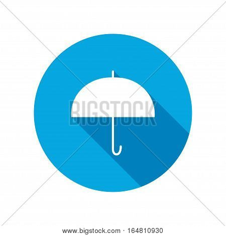 Umbrella icon. Protection from rain. Round circle flat icon with long shadow. Vector