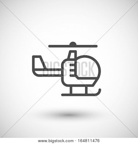 Helicopter line icon isolated on grey. Vector illustration
