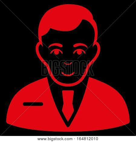 Businessman vector icon. Flat red symbol. Pictogram is isolated on a black background. Designed for web and software interfaces.