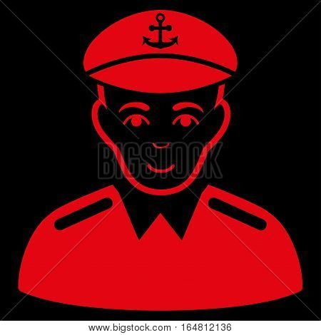 Captain vector icon. Flat red symbol. Pictogram is isolated on a black background. Designed for web and software interfaces.