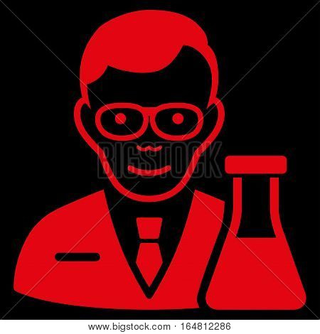 Chemist vector icon. Flat red symbol. Pictogram is isolated on a black background. Designed for web and software interfaces.
