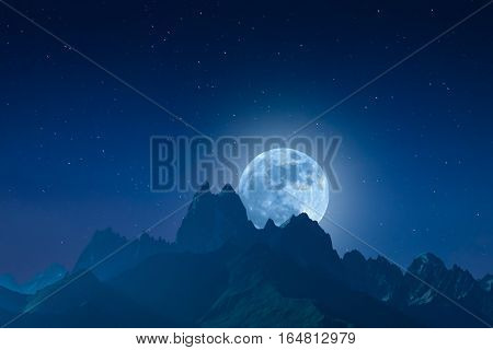 Night Landscape With Mountains And Moon