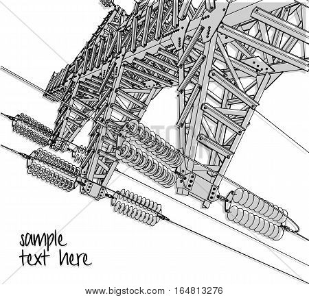 Power Transmission Line, vector illustration. Isolated on white background