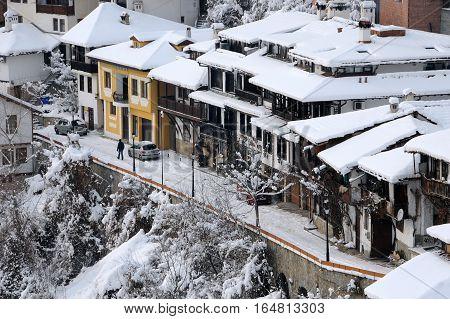VELIKO TARNOVO BULGARIA - JANUARY 9 2017: Aerial view of General Gurko street in January