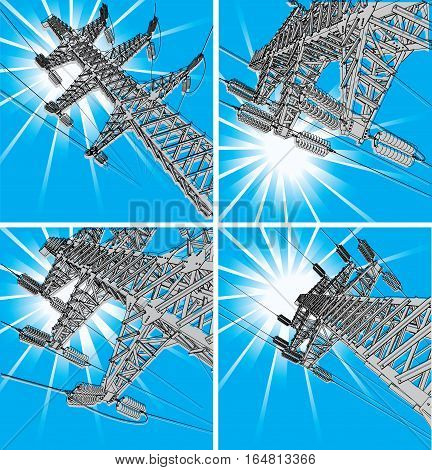 Power Transmission Line, vector illustration, set. With sun rays on background