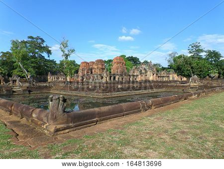 The Ancient Pond Decorated with Naga Sculpture at Prasat Hin Muang Tam Temple in Buriram Province, Thailand