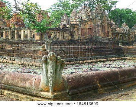 Impressive Naga Sculpture of the Lotus Pond at Prasat Hin Muang Tam, Buriram Province, Thailand
