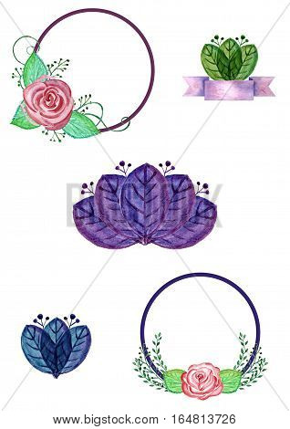 set of beautiful watercolor banner with flowers
