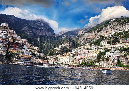 Mediterranean style architecture from Positano, Amalfi Coast, Italy