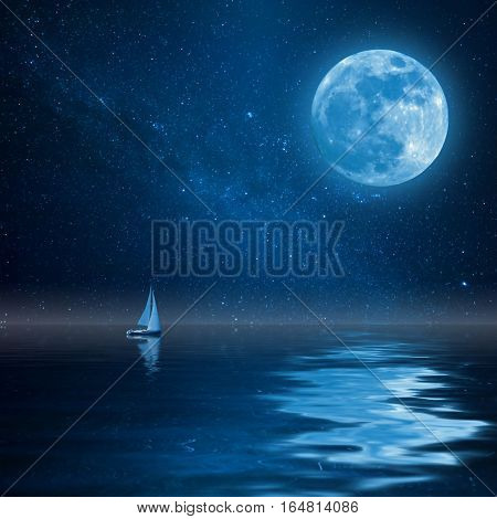 Lonely Yacht In Ocean With Moon And Stars