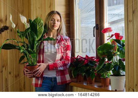 Young woman taking care of home plants indoor