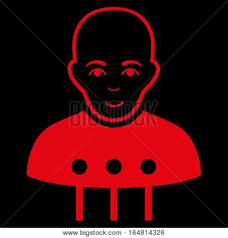 Cyborg Interface vector icon. Flat red symbol. Pictogram is isolated on a black background. Designed for web and software interfaces.