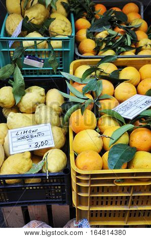 Fresh lemons, oranges and other fruits and vegetables on a street market in Sorrento, Amalfi Coast,Italy