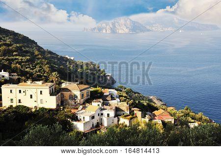 Seaside cliff in Sorrento, Amalfi Coast, Italy